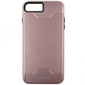 MACALLY K-Stand Case/Stand and Credir Card Holder for the Apple iPhone 7 - Rose Gold