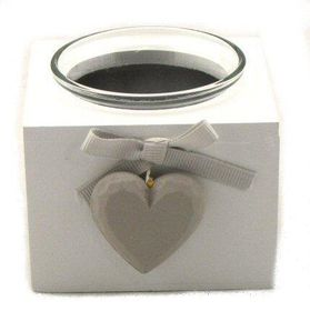 Pamper Hamper - White Wooden Single Candle Holder - White