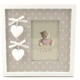 Pamper Hamper - Single Portrait Photo Frame With Heart Border - White