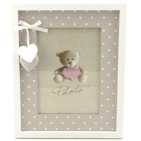 Pamper Hamper - Single Photo Frame With White Hanging Hearts - White