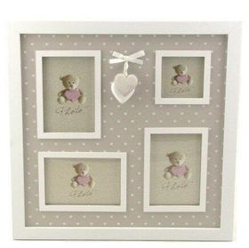 Pamper Hamper - Multi Photo Frame Hearts Border - White