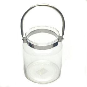 Pamper Hamper - Chrome Handle Glass Jar - White