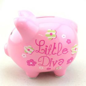 Pamper Hamper - Little Diva Piggy Bank - Pink