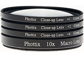 Phottix +1, +2, +4, 10x Macro Lens Filters (Close-Up Lens) 77mm