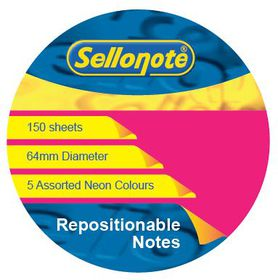 Sello-Note 150 Sheet Neon Repositionable Notes - 64mm Diameter