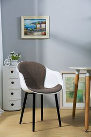 Patio Style - Bucket Chair With Black Legs and Grey Fabric - White