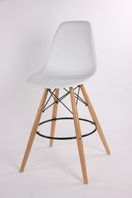 Patio Style - Bar Chair With Wooden Legs - White