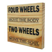 Prettish Two Wheels Motorcycle Sign - Natural