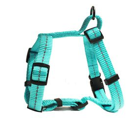 Dog's Life - Reflective Super soft Webbing H Harness - Large - Turquoise