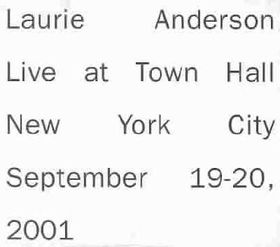 Laurie Anderson - Live At Town Hall - New York City (CD)