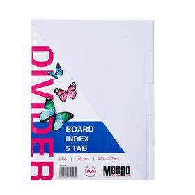 Meeco A4 5 Tab White Board Dividers